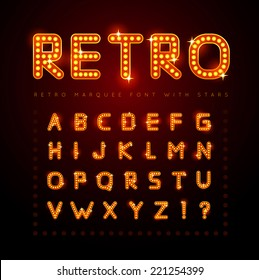 Retro alphabet set with lamp and stars, vector illustration.