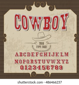 retro alphabet in western style, cowboy style, vector font for labels and posters