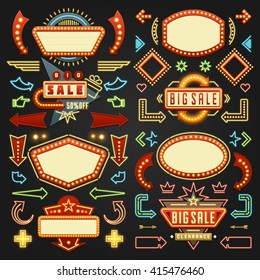 Retro American 1950s Sign Design Elements Set. Billboard Signage Light Bulbs, Frames, Arrows, Icons, Neon Lamps. For advertising, Poster Retro Sign. Vector Illustration.
