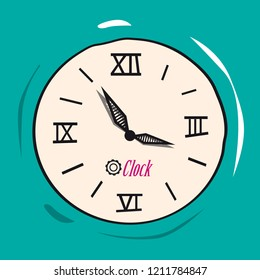 Retro Analog Flat Clock Vector Illustration