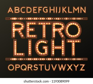Retro  Aphabet with Bulb Lamps, Street Signs, Glow and Emboss