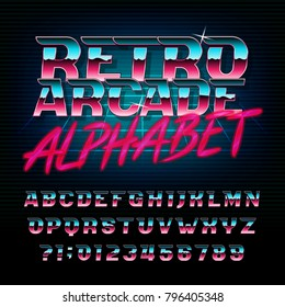 Retro arcade alphabet font. Metallic effect shiny oblique letters and numbers. Vector typeface for your design.