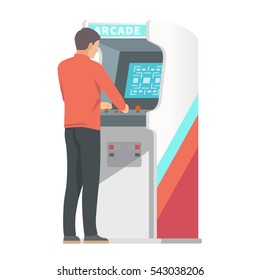 Retro arcade machine. Man playing classic video games. Vector illustration
