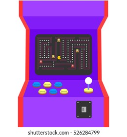 Retro arcade machine plugged in with pixel game over message. Flat style vector illustration isolated on white background