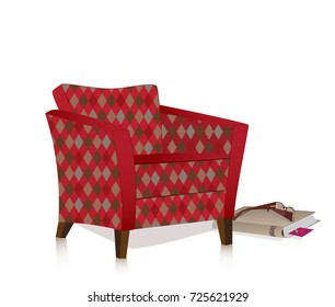 Retro armchair with rhombus pattern isolated on a white background. The book and glasses are on the floor next to the armchair