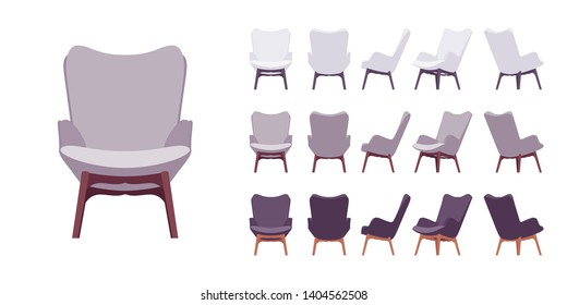 Retro armchair set. Soft upholstery chair, comfortable seat, lobby, lounge room, living, bedroom furniture. Vector flat style cartoon illustration isolated on white background, different views, color
