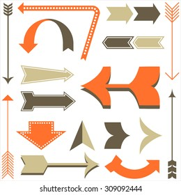 Retro Arrow Designs - Set of arrow designs in different styles.  Each element is grouped and colors are global for easy editing.