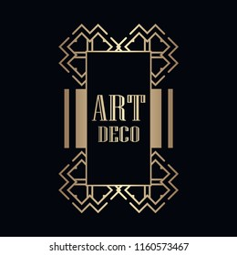 Retro art deco invitation. Border and frame for design