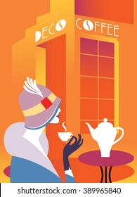 Retro art deco woman sitting at an street cafe. Woman drinking coffee. On the table hot coffee maker. Lettering signboard Deco Coffee Vector illustration. EPS 10