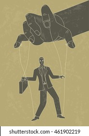 Retro art illustration of puppet master controlling a businessman, control, business concept