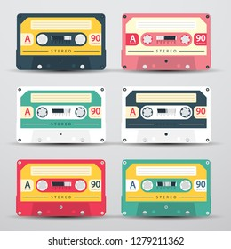 Retro Audio Cassetes Set - Vector Cassete Icons Isolated on Light Background