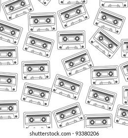 Retro audio cassette background, black and white illustration
