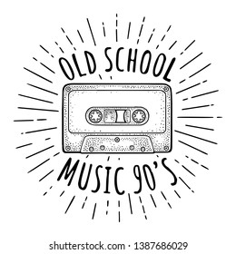 Retro audio cassette with ray. Vintage vector black engraving illustration for poster, web. Isolated on white background. OLD SCHOOL MUSIC 90'S handwriting lettering