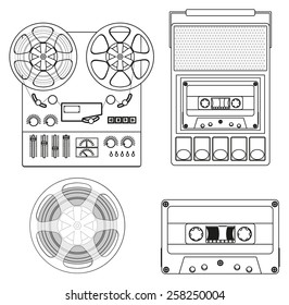 Retro audio set: Retro Cassette Tape player and audio tape recorder. Vector Illustration isolated  on white background.