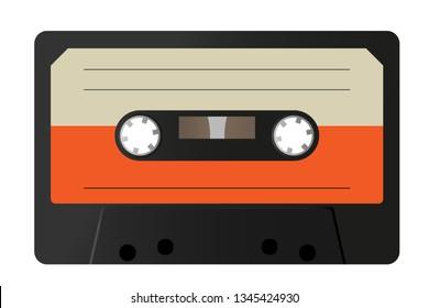 Retro audio tape cassette, vintage mixtape on isolated white background. Old technology. Vector illustration