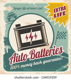 Retro auto batteries poster design. Vintage background for car service or parts shop.