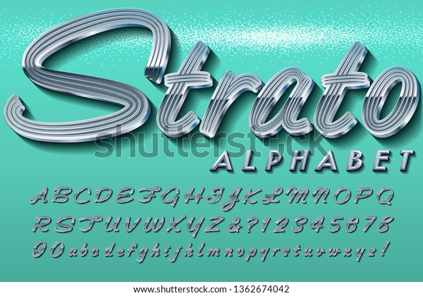 A retro automobile-style chrome script font. This alphabet is typical of the lettering plaques on vintage cars from the 1950s through 1970s