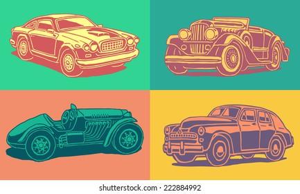 Retro autos vector pop art set