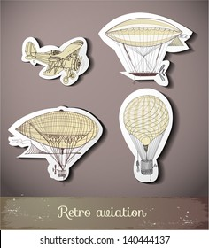 Retro aviation collection on paper cut with realistic shadow. Vector illustration.