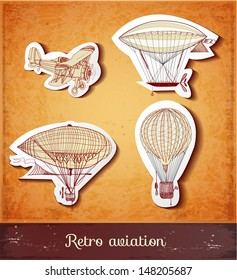 Retro aviation collection in vintage style. Realistic shadows. Vector illustration.