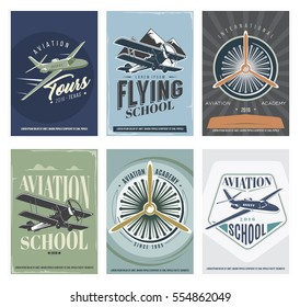 Retro Aviation set of 6 posters. Vintage Vector Airplane Labels, design elements and emblems. Vector illustration. Isolated.