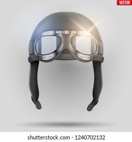 Retro aviator pilot leather helmet with goggles. Aviation History Symbol. Vintage style. Vector Illustration.