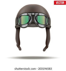 Retro aviator pilot leather helmet with goggles. Vintage object. Vector Illustration. Isolated on white