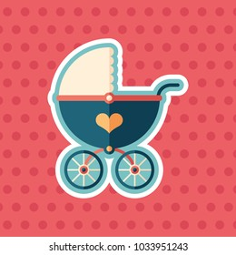 Retro baby stroller sticker flat icon with color background.