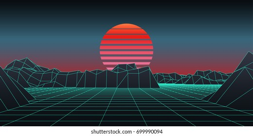 Retro background. 1980-s style digital wireframe landscape with moon. Vector illustration