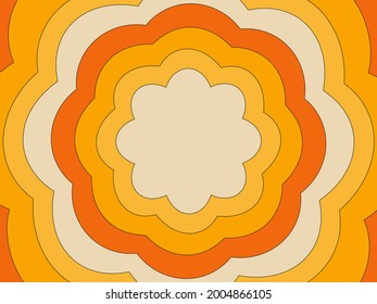 Retro background of the 70s. Abstract vintage background. Vector illustration in simple linear style - design templates - hippie style