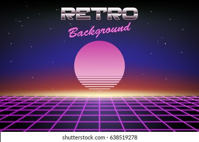 Retro background 80s, sun or planet on abstract backdrop, vector wallpaper