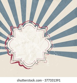 Retro background abstract with blue starburst and beige sticker - announcement template