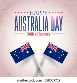 Retro Background of Australia Day, National Celebration Card, Grunge Badges Vector Emblem