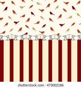 Retro background, Birds and stripes, Vintage background with birds silhouettes and stripes