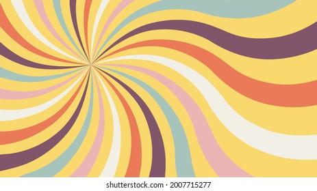 Retro background with color sunburst or starburst. Pattern with vintage color palette, swirl stripes. Vector illustration of 60s.