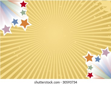 Retro background with colorful stars and vector rays