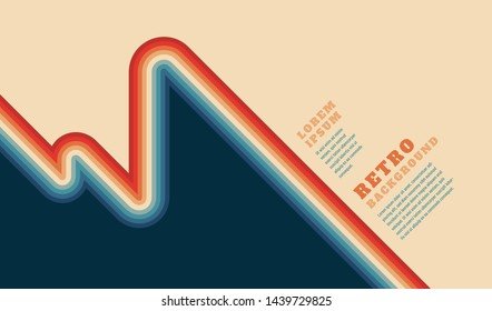 Retro background with colorful striped design element, headlines and text. Vector illustration.