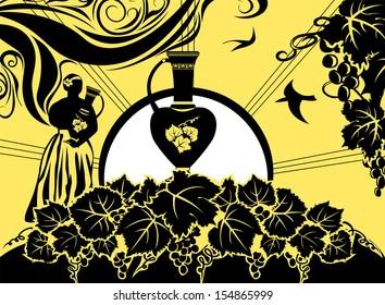 Retro background, label, grapes and wine