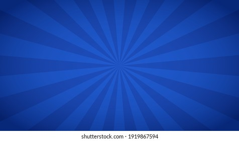 Retro background with rays or stripes in the center. Sunburst or sun burst retro background. Blue colors. Vector illustration