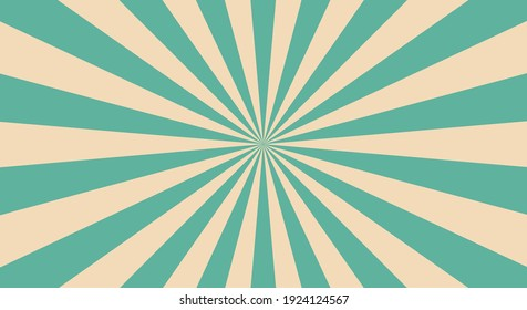 Retro background with rays or stripes in the center. Sunburst or sun burst retro background. turquoise colors. Vector illustration