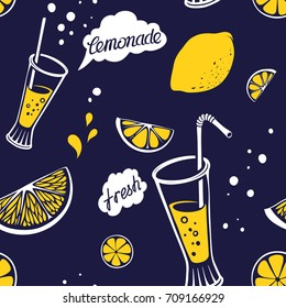 Retro Background with Seamless Pattern of Lemonade Glass and Lemon Drawings