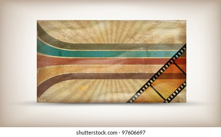 Retro background with stripes and film