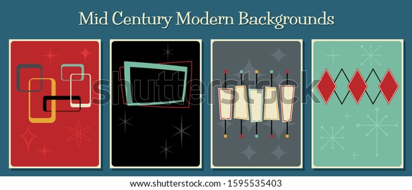 Retro Backgrounds, Advertisement, Event Poster Templates, 1950s, 1960s Style, Mid Century Modern Shapes and Colors