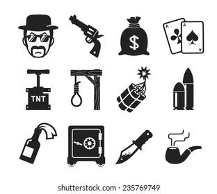 Retro Bad boys icons set  // Dangerous