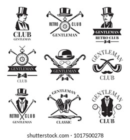 Retro badges or labels set for gentleman club. Logos design template with place for your text. Gentleman logo club, label vintage emblem elegant and fashion. Vector illustration
