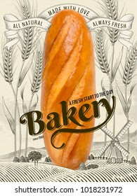 Retro Bakery ads, delicious giant french bread in 3d illustration with wheat field and countryside scenery in etching shading style