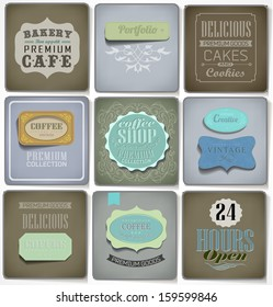 Retro bakery labels and typography/ old paper/ coffee shop, cafe, menu design elements, calligraphic