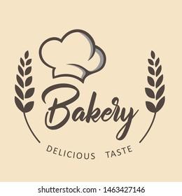 retro bakery logo with chef hat