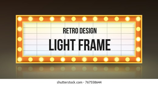 Retro Banner With Bulbs For Your Projects Light Vintage Billboard Or Bright Signboard