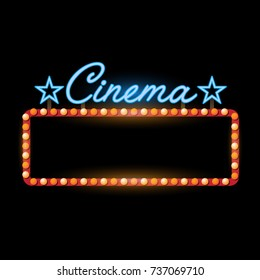 Retro banner cinema vintage neon sign eps 10